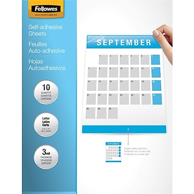 Fellowes Letter Size Self-Adhesive Laminating Sheets, 3 mil, 10 pack