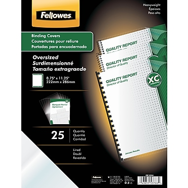 Fellowes Futura Binding Presentation Covers, Oversize, 25 Pack, Lined