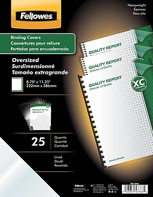 Fellowes® Oversized Presentation Binding Covers, Clear, Lined