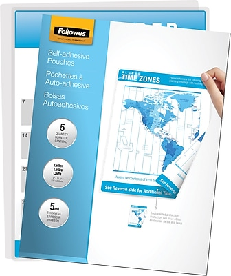 Fellowes Letter Size Self-Adhesive Laminating Pouches, 5 mil, 5 pack