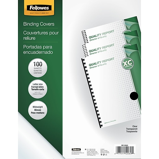 fellowes crystals binding presentation covers letter 100 pack
