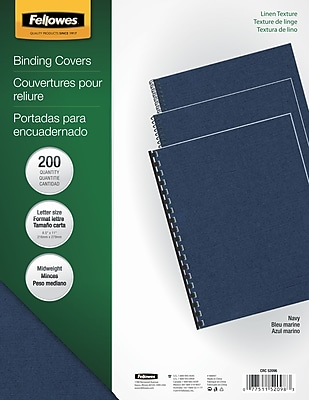Fellowes® Expressions Binding Presentation Covers, Letter, Navy, 200/Pack