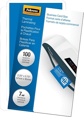Fellowes® Business Card Laminating Pouch, 7 mil, 2-1/4