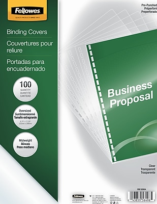 Fellowes® Oversized Presentation Binding Covers, Clear, Unlined