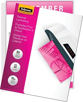 Fellowes Letter Size Thermal Laminating Pouches, 10 mil, 50 pack