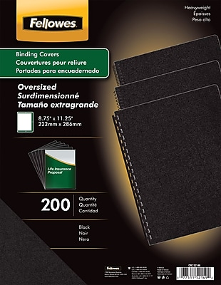 Fellowes® Oversized Presentation Binding Covers, Un-Punched, Black, 200/Pack