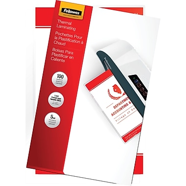 Fellowes Laminating Pouches - Legal Size, 5 mil, 100 pack