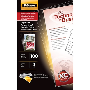 Fellowes Laminating Pouches - Legal Size, 3 mil, 100 pack