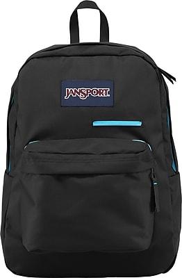 Jansport Digibreak Solid Black, Aqua Polyester Backpack (T50F008)