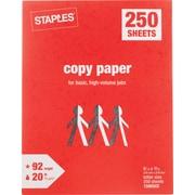 Staples® Copy Paper, 20 lb., Letter 8-1/2 x 11, 250 Sheets/Ream
