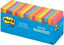 Post-it® Original Notes, 3' x 3', Cape Town Collection, Cabinet Pack, 18/Pack