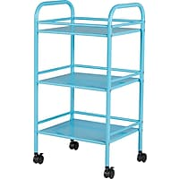 Deals on Staples 3 Shelf Rolling Cart Light Blue 27960