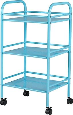 Staples® 3 Shelf Rolling Cart, Light Blue