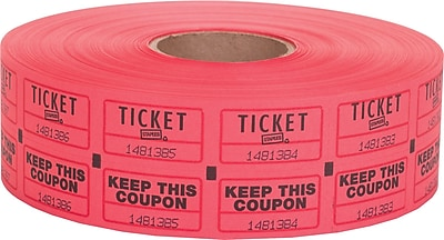 Staples Double Ticket Roll, Red, 2000/Roll, 1 Roll