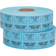 Staples Double Ticket Roll, Blue, 2000/Roll, 2 Rolls