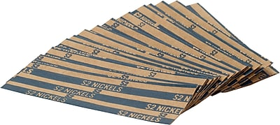 Coin-Tainer® Flat Tubular Nickel Wrappers, Blue, $2, 1000/Box