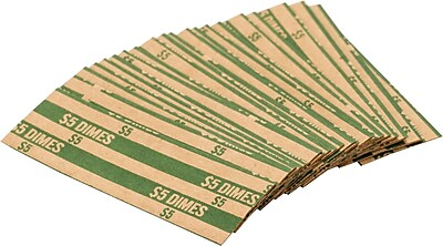Coin-Tainer® Flat Tubular Dime Wrappers, Green, $5, 1000/Box