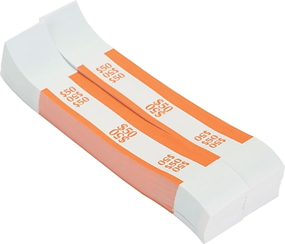 Coin-Tainer® $50 Currency Strap, Orange, 1000/Pack