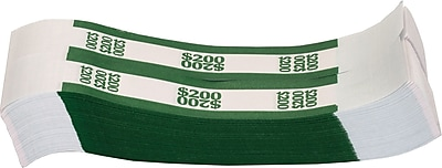 Coin-Tainer® $200 Currency Strap, Green, 1000/Pack