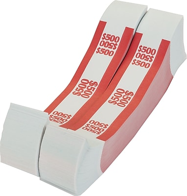 Coin-Tainer® $500 Currency Strap, Red, 1000/Pack