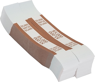 Coin-Tainer® $5,000 Currency Strap, Brown, 1000/Pack