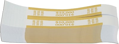 Coin-Tainer® $10,000 Currency Strap, Mustard, 1000/Pack