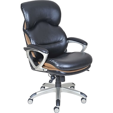 serta wellness by design executive leather office chair black