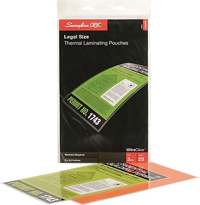 Swingline™ GBC® HeatSeal™ 3 Mil, Ultra Clear Legal Size Laminating Pouches, 25 pack