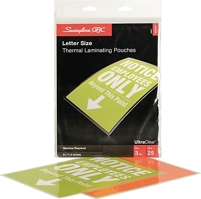 Swingline® GBC® UltraClear™ Thermal Laminating Pouches, Letter Size, 3 Mil, 25 Pack