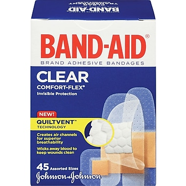 BAND-AID Brand® - Pansements COMFORT-FLEX® transparents, formats assortis, paq./45