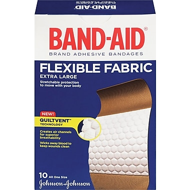 BAND-AID Brand® Flexible Fabric Bandages, Extra Large, 10/Pack