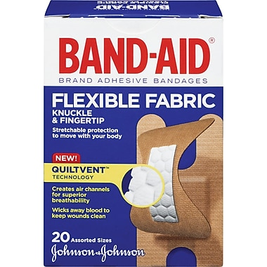 BAND-AID Brand® Flexible Fabric Bandages, Knuckle and Fingertip, 20/Pack