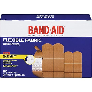BAND-AID Brand® - Pansements en tissu flexible, formats assortis, paq./80