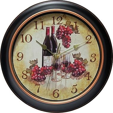 Instruments Infinity – Horloge murale de 12 po à trotteuse silencieuse/cadran à image de vin/raisins, Rotterdam (14877BG-3967)