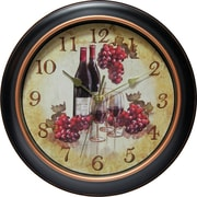 "Infinity Instruments 12"" Silent Sweep Second Hand Grape and Wine Dial Wall Clock, Valencia"
