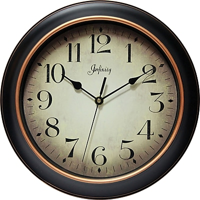 Infinity Instruments Hanover Silent Sweep Second Hand Traditional Dial Wall Clock, 12