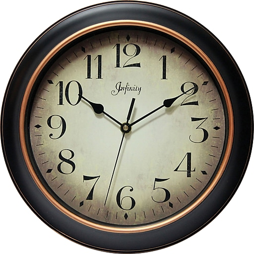 """Infinity Instruments Hanover Silent Sweep Second Hand Traditional Dial Wall Clock, 12"""""""