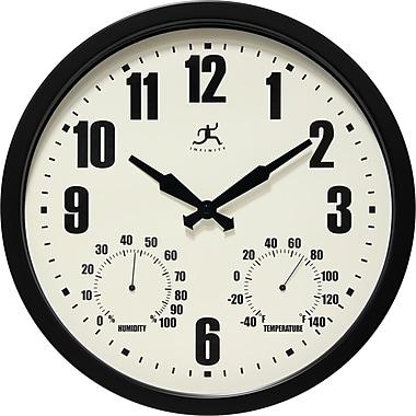 Instruments Infinity – Horloge murale int/ext de 14 po en acier avec hygromètre et thermomètre, noir Munich (14885BK-3911)