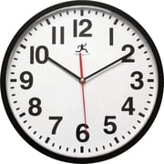 "Infinity Instruments Pure 13"" Silent Sweep Second Hand Shatter Resistant Office Wall Clock (15018BK-4017)"