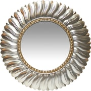"Infinity Instruments 21.5"" Feather Design Burnished Light Gold with Gold Center Ring Mirror, Marseille"