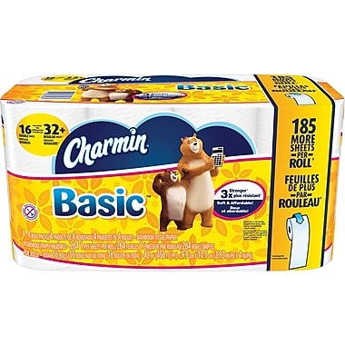 Charmin® Basic Double Rolls Bath Tissue Rolls, 16 Rolls/Case (PGC 85985/50911)
