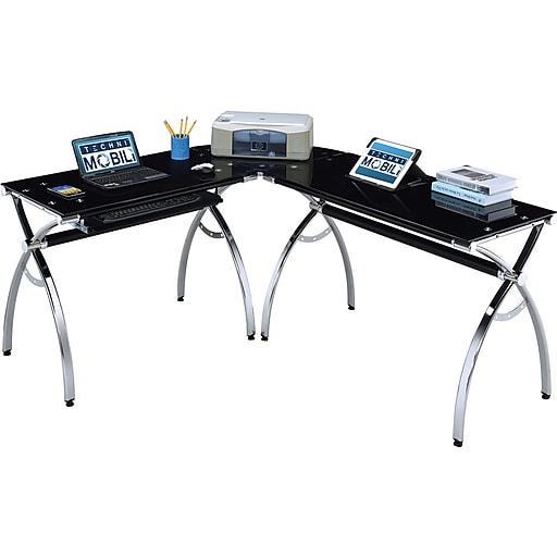 size 40 dc043 20074 Techni Mobili L-Shaped Tempered Glass Top Computer Desk, Black