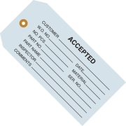 "Staples - 4 3/4"" x 2 3/8"" - ""Accepted (Blue)"" Inspection Tag, 1000/Case"