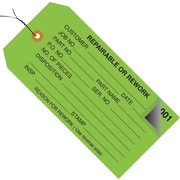"""Staples - 4 3/4"""" x 2 3/8"""" - """"Repairable or Rework"""" Inspection Tag - Numbered 001 - 499 - Pre-Wired, 500/Case"""