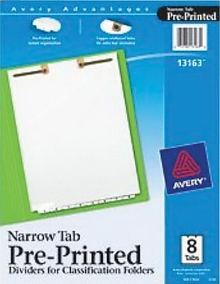 Avery(R) Preprinted Dividers for Classification Folders 13163, Narrow Bottom Tabs, 8-Tab Set