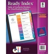 Avery(R) Ready Index(R) Table of Contents Dividers for Classification Folders 13158, 8-Tab Set