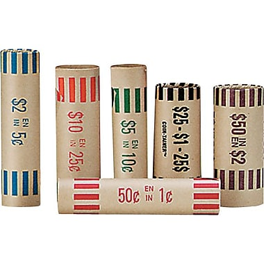 Paper Coin Tube, Assorted, 36/Pack