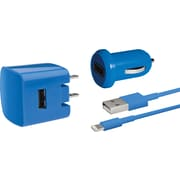 Delton Apple Certified Lightning 3PC Charger Kit For iPhone (5, 6, 6+), Assorted Colors