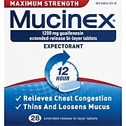 Mucinex® Max Strength Expectorant Tablets, 12 Hour Relief, 28/Pack (63824-02328)