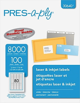 PRES-a-ply® Laser/inkjet Address Labels, 1/2 X 1 3/4, White, 8000/Pk (30640)